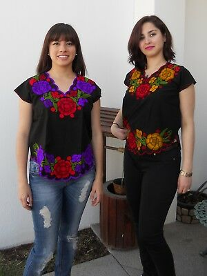 Mexican embroidered peasant Chiapas handmade blouse short sleeve