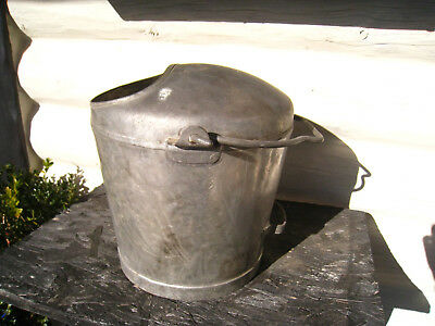 Unusual Vintage  Milk Churn / Bucket / Garden Planter Heavy Galvanized REDUCED!