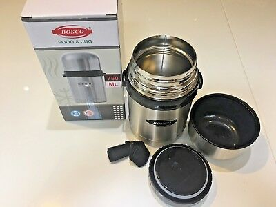 NEW BOSCO 750ml AIRPOT FLASK HOT COLD S/S VACUUM THERMOS TEA COFFEE FOOD