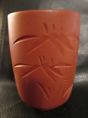 Red Clay Chinese Yixing Tea Cup Zisha Ware Unglazed Bamboo Design