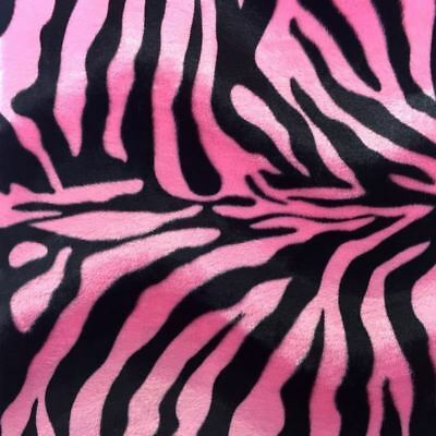 Velboa Faux Fur Pink Zebra Animal Print Fabric Sewing Poly By The Yard