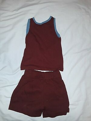 Vintage 1970s Tank Top and Shorts Set - boys girls childrens - maroon & blue