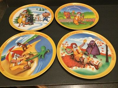 UNUSED 1977 Vintage McDonald's Plates Four Seasons Set Ronald McDonald Land