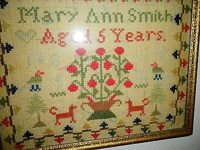 1852 Antique Sampler by Mary Ann Smith - Excellent Condition for Age