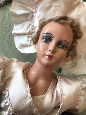 Vintage 1920s Boudoir Doll In Pink Dress And Hat