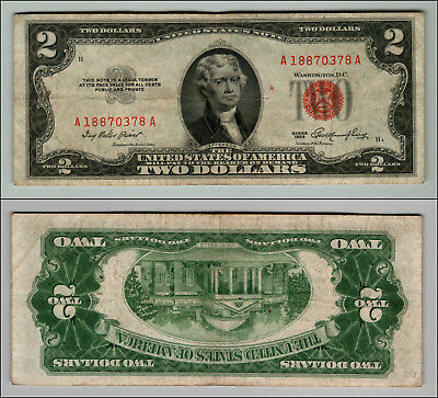1953 $ 2 DOLLAR RED SEAL CIRCULATED United States Note LOT J835
