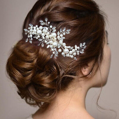 Chic Wedding Bridal Flower Pearls Hair Comb Clip Diamante Crystal Rhinestone AU