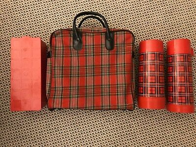 Vintage Picnic Plaid Carrying Bag, Food Safe, Hot and Cold Thermos Retro Aladdin
