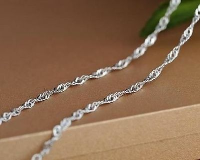"8""-40"" 316L Womens Stainless Steel Necklace Chain Twist Water Wave Style 3mm"