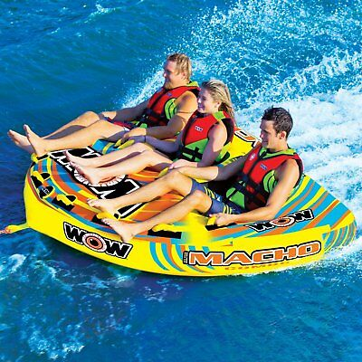 Wow Macho 3 Person Towable Ski Tube Inflatable Biscuit Boat Ride