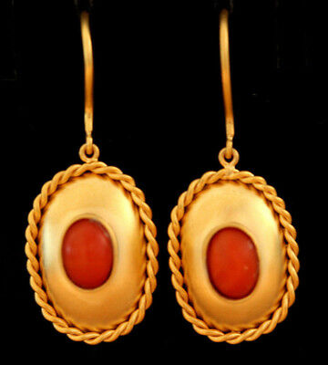 Beautiful Ancient Roman Replica 14kt Solid Gold Earrings Antique Natural Coral