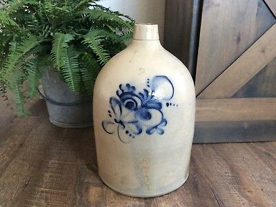 LARGE Antique 19th Century Salt Glaze 3 Gallon Pottery Jug Cobalt Floral Decor
