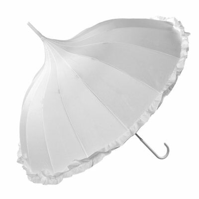 Oriental White Ornate Frilled Pagoda Occasion Umbrella Parasol