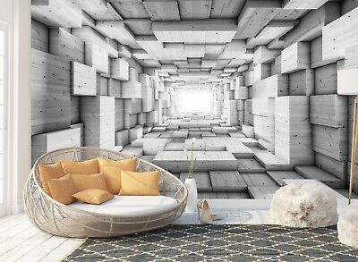 Wall Mural Photo Wallpaper Picture EASY-INSTALL Fleece 3D Modern Abstract Tunnel