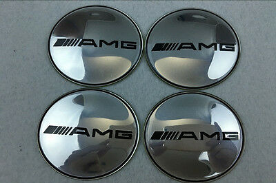 4Pcs 65mm Car Wheel Center Hub Caps emblem Badge for Mercedes Benz AMG Silver