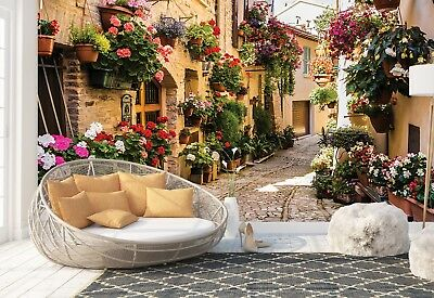 Wall Mural Photo Wallpaper Picture EASY-INSTALL Fleece Mediterranean Roses Path
