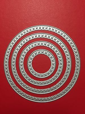 NEW• CIRCLES DIE SET of 4 Cross Stitch Look Circles For Cuttlebug Or Sizzix