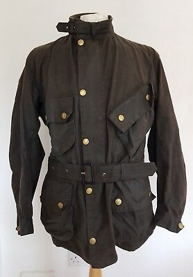 BARBOUR INTERNATIONAL A7 MOTORCYCLE Quality 42 inch Wax Belted Jacket