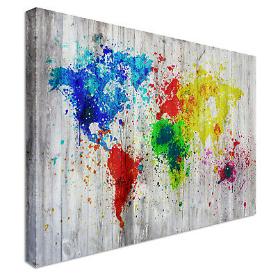 World  map abstract splashes  Canvas Print Crafted In London - Quality Assured