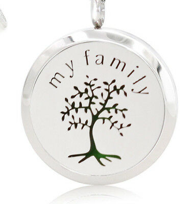 My Family Tree, Diffuser Necklace Locket Stainless Still, 10ml Oil, 11 pads.