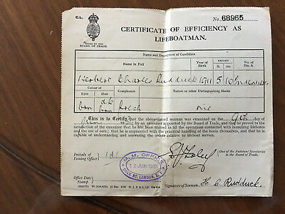 Estate Sale! 1931 London Certificate of Efficiency As Lifeboatman