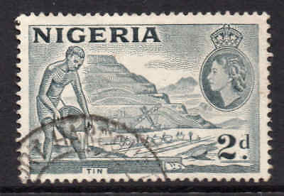 "Nigeria 1953 QEII 2d ""2d"" re-entry flaw SG 72ca used"
