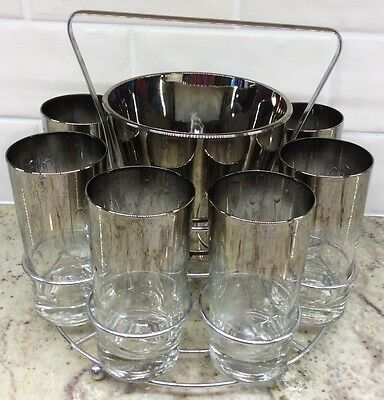 Vintage Barware 8 Glasses, Ice Bucket, Carrier Silver Fade Vitreon Queen's Retro