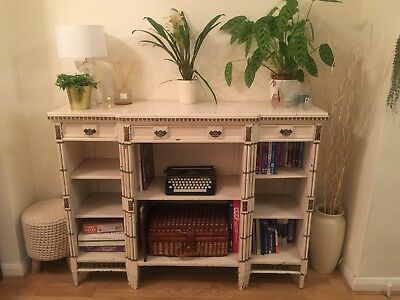Vintage Edwardian Regency Style Sideboard Cream And Gold Solid Wood Unit