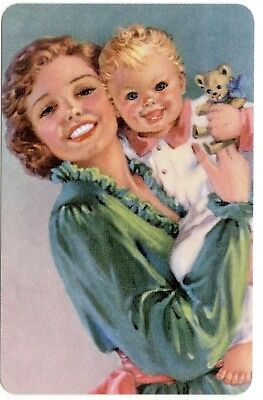 Playing cards swap cards single child & mother lady & dog