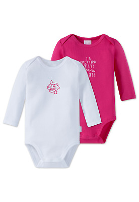 Schiesser Baby Bodysuit Pack of 2 80 86 92 98 104 Bodies Long Sleeved 100%