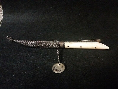 antique greek cretan silver bone dagger knife ottoman era