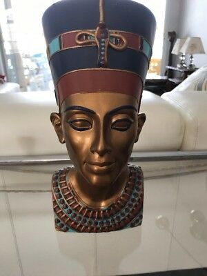 Vintage Egyptian Queen Nefertiti Bust Statue Figure Pharaoh Wife Resin
