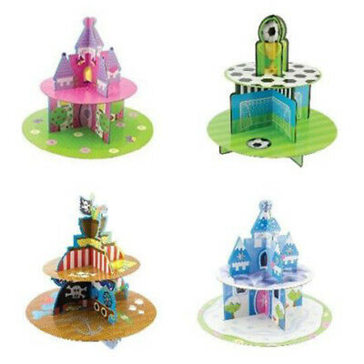 2 Tier Cupcake Stand Muffin Holder Cardboard Football Pirate Princess Kids Party