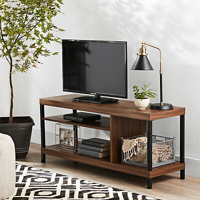 42 Inch Tv Stand Walnut With Metal Accent Open Storage Shelves Easy