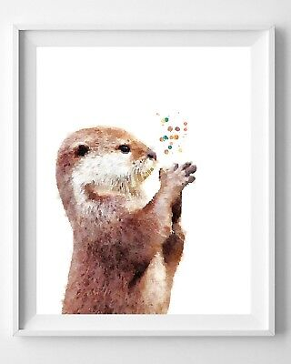 Otter Print, Painting,Watercolor,Poster, Nursery, Animals Pic No 8