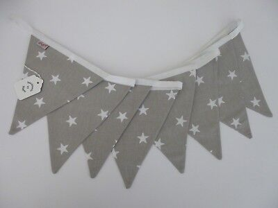 Grey/White STAR Cotton Fabric Bunting 2 Mtrs - Baby, Nursery, Shower Gift- NEW