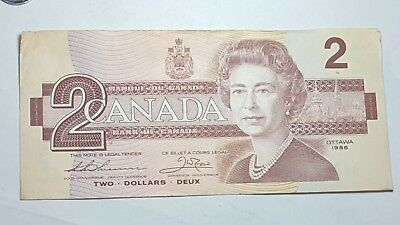 1986 CANADA Canadian $2 Two Dollar Bill Note Circulated