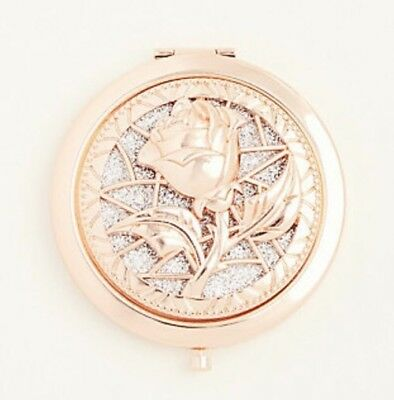Disney Beauty & The Beast Rose Gold Tone Dusted With Rhinestones Compact Mirror