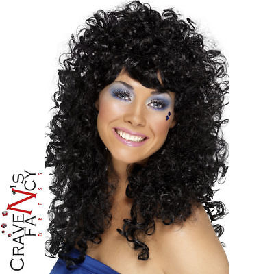 Boogie Babe Black Wig Cher Long Curly Permed Afro 70s 80s Ladies Fancy Dress New