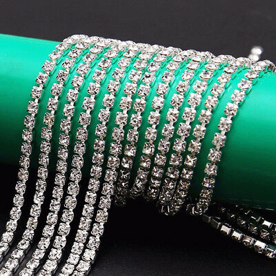 1M Rhinestone Chain Trim Silver Diamante Crystal Glass Wedding Decor 2.8mm