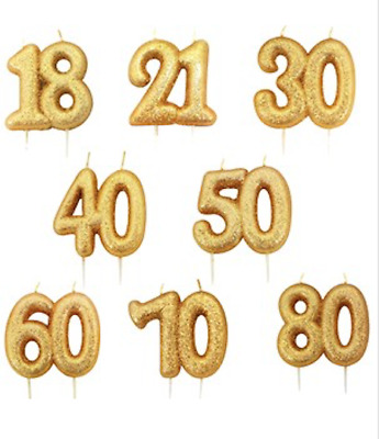 Gold Glitter Moulded Pick Double Number Candles - CHOOSE YOUR AGE