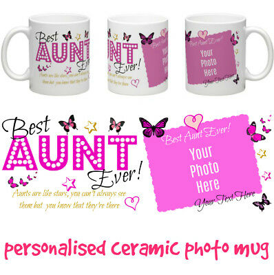 Best Aunt Ever! personalised ceramic photo mug gift 8 choices Aunt Mum Nan etc.