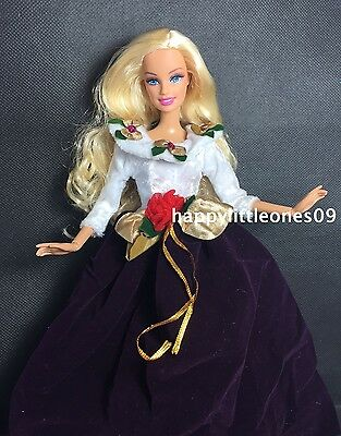 Purple&White Velvet Barbie Doll Party Evening Christmas Dress/Clothes/Outfit New