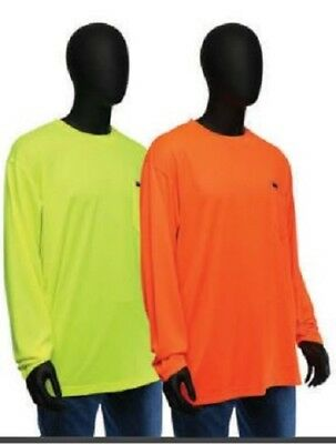 Hi Vis T Shirt Non Ansi Safety Long Sleeve HIGH VISIBILITY Sizes Med-4XL