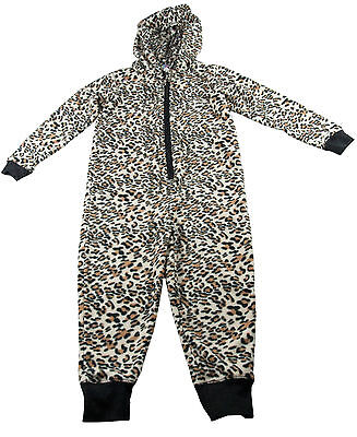 Girls Fleece All in One Hooded Pajamas NEW Leopard Skin with Ears Ages 3-4 Years