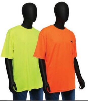 Hi Vis T Shirt Non Ansi Safety Short Sleeve HIGH VISIBILITY Sizes Med-4XL