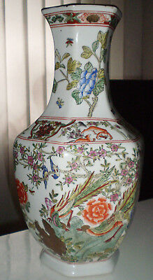 China Vase 6 eckig Chinese Vase Japan ? Motiv Vogel Tier Blumen Gold  gemarkt