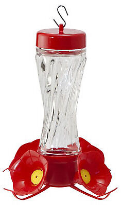 Woodlink NA35223 Bird Feeder, Hummingbird, Clear Swirl Glass, 8-oz.