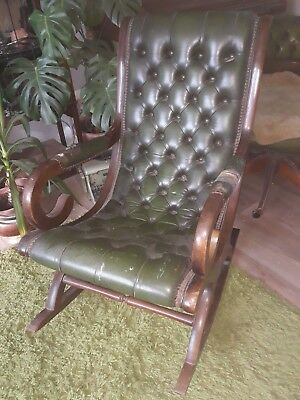 Vintage leather chesterfield slipper rocking chair mahogany restoration project