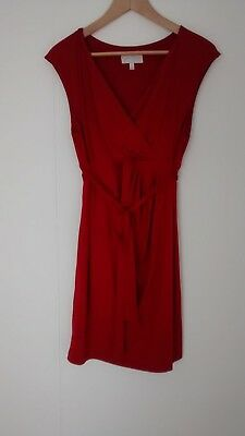 JESSICA SIMPSON Maternity Empire Wrap Tie Sleeveless Red Large